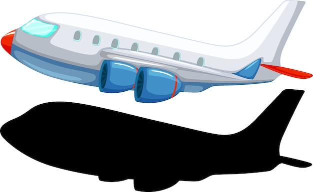Самолет мультяшном стиле с его силуэтом Бесплатные векторы