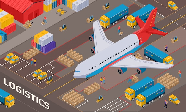 Airplane during logistic delivery on  of warehouse with staff vehicles and packages isometric Free Vector