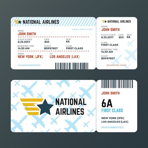 Airplane flight boarding pass ticket isolated vector template Premium Vector