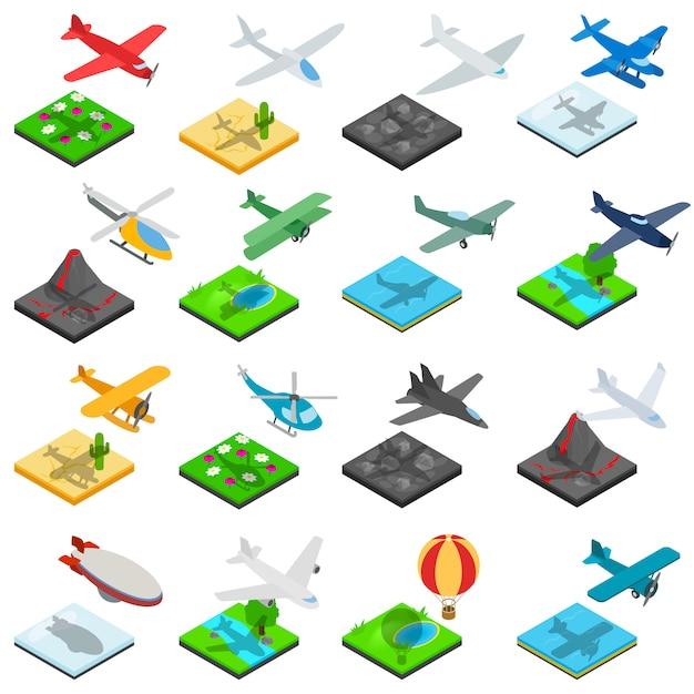 Airplane flight icons set, isometric style Premium Vector