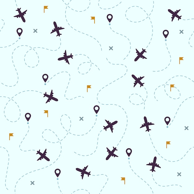 Airplane flights pattern. plane travel, avia traveling routes and aviation seamless Premium Vector