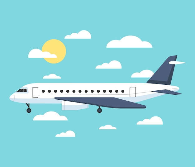 Самолет летит над городом. Premium векторы