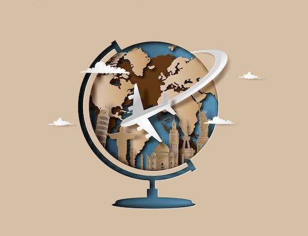 Airplane fly around the planet Premium Vector