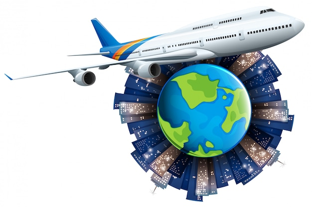 Airplane flying around the earth Free Vector