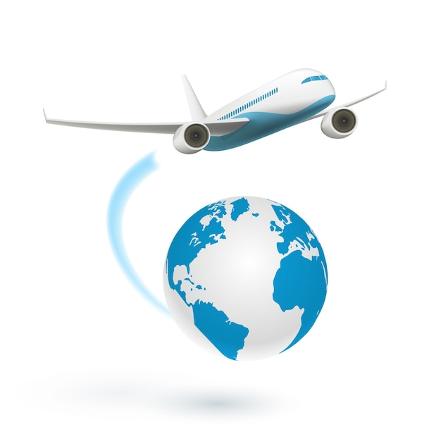 Airplane flying around the globe Free Vector