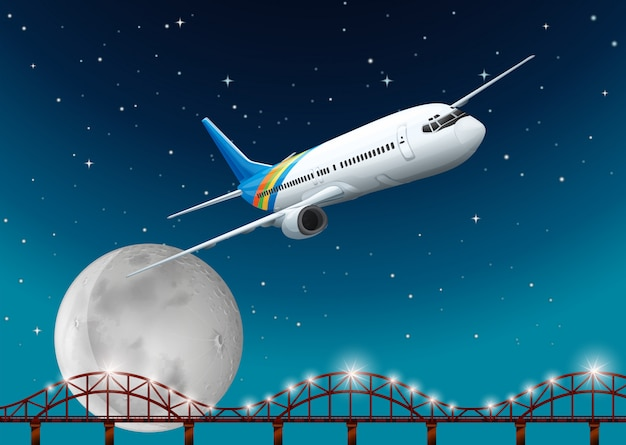 Airplane flying over bridge at night Free Vector