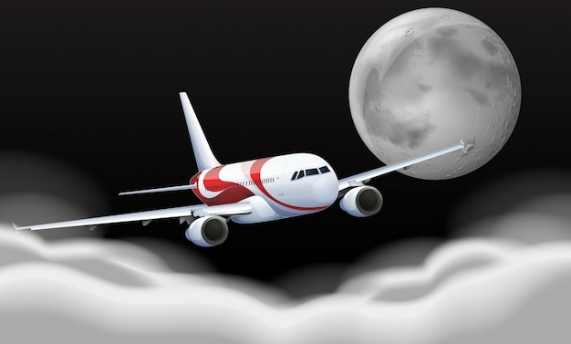 Airplane flying in the fullmoon Free Vector