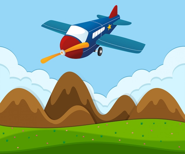 Airplane flying over the green landscape Free Vector