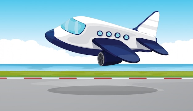 Airplane flying out of the runway Free Vector