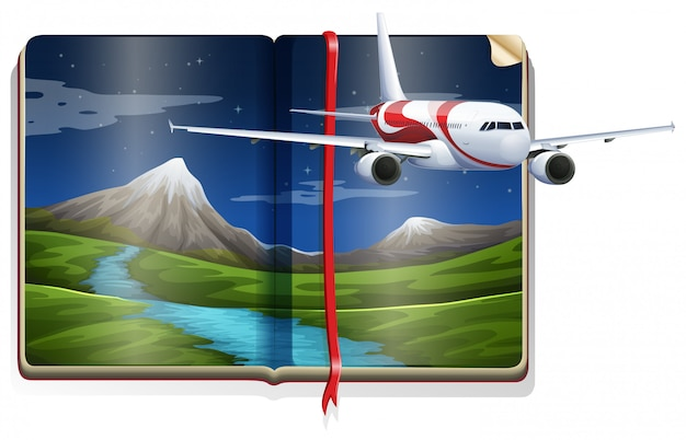 Airplane flying over the river scene in the book Free Vector