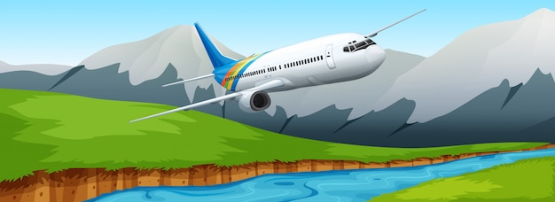 Airplane flying over the river Free Vector