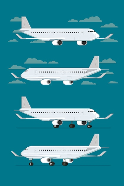 Airplane flying in sky and landed aircraft. vector illustration Premium Vector