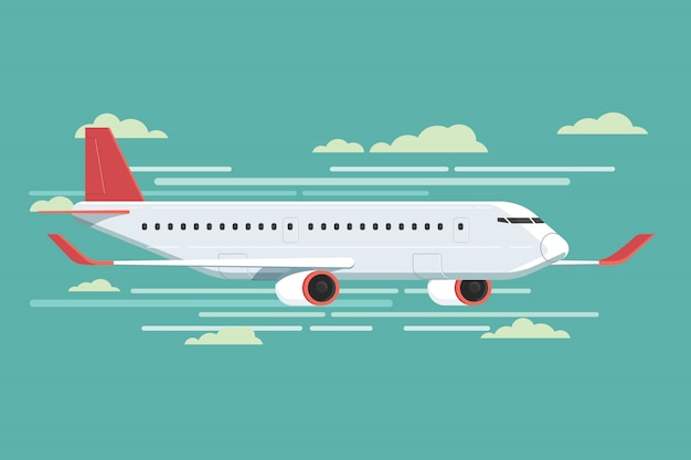 Airplane flying in sky. vector illustration Premium Vector