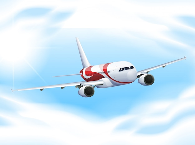 Airplane flying in the sky Free Vector