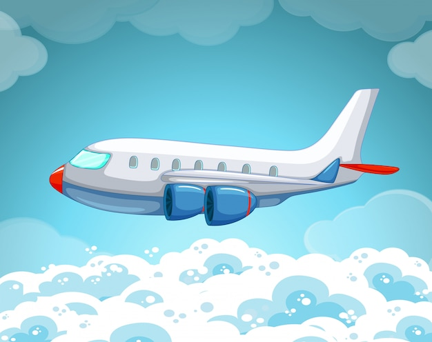 Airplane flying in the sky Premium Vector