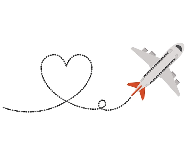 Airplane flying with heart Premium Vector