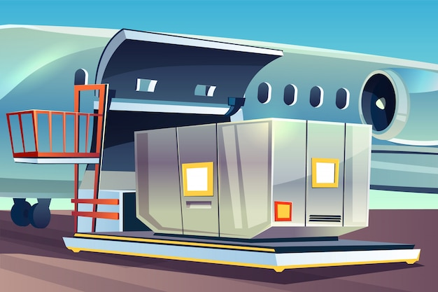 Airplane Freight Loading Illustration Of Air Cargo Logistics Free Vector
