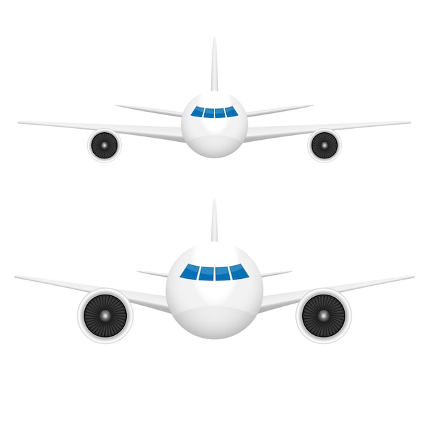 白い背景の上の飛行機正面図 Premiumベクター