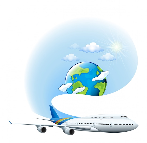 An airplane and a globe Free Vector