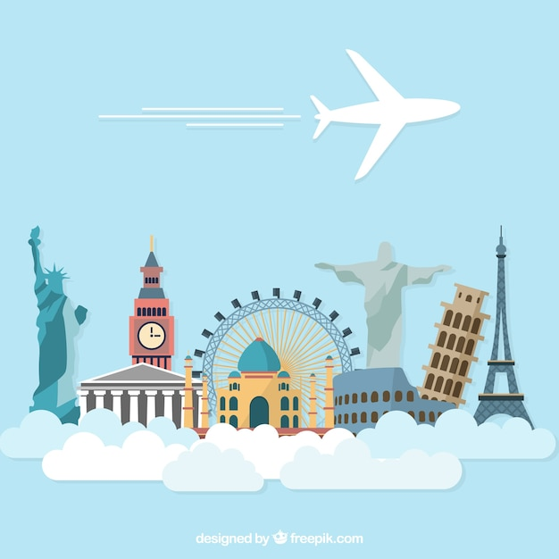 Airplane holidays travel with world monuments Free Vector