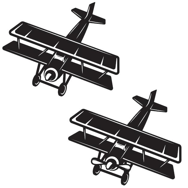 白い背景の上の飛行機のアイコン。ロゴ、ラベル、エンブレム、記号、バッジの要素。画像 Premiumベクター