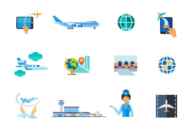 Airplane icon set Free Vector