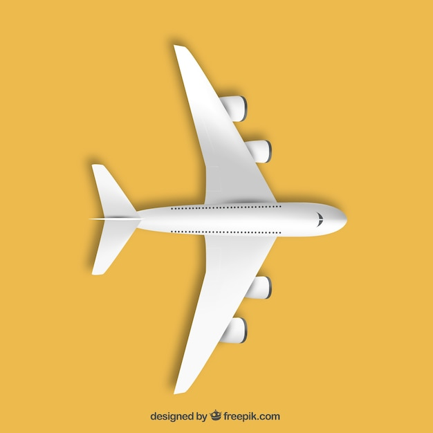 Airplane in top view Free Vector