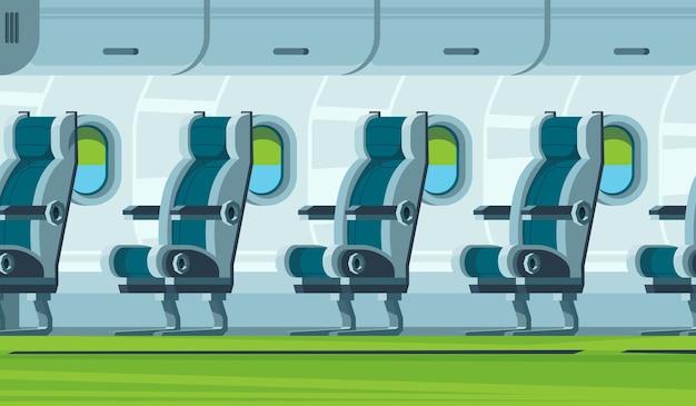 비행기 내부. 교통 기내 좌석 항공기 살롱 평면 그림. 프리미엄 벡터
