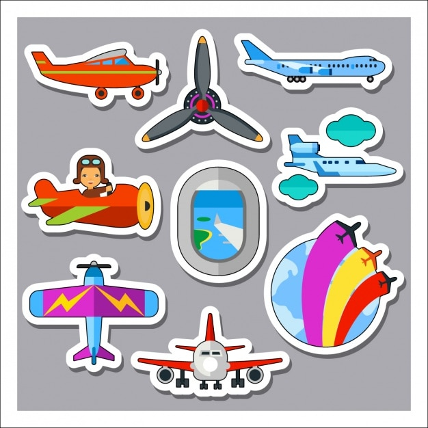 Airplane labels collection Free Vector