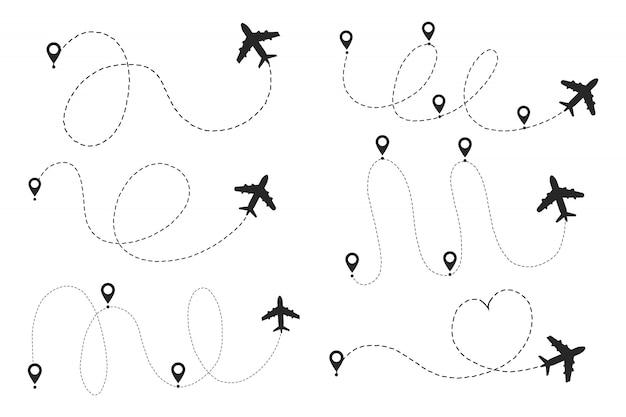 Маршрут пути самолета с начальной точкой и трассой штриховой линии. Premium векторы