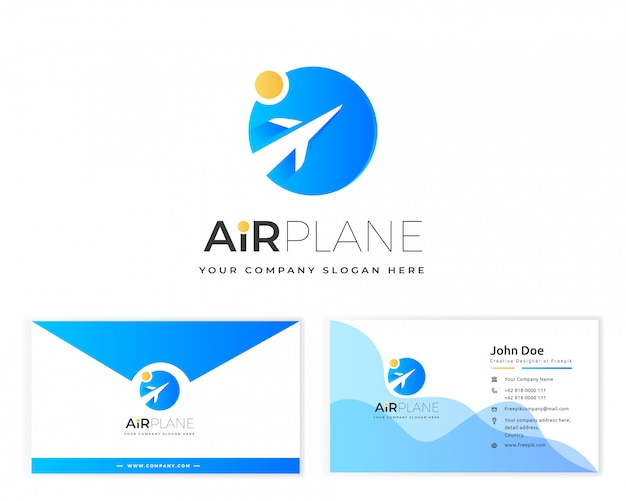 Airplane logo with stationery business card Premium Vector