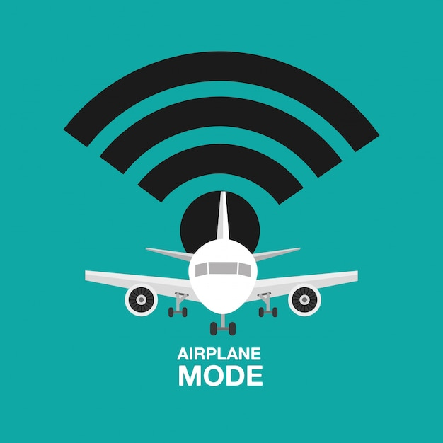 Airplane mode design, wifi off Free Vector