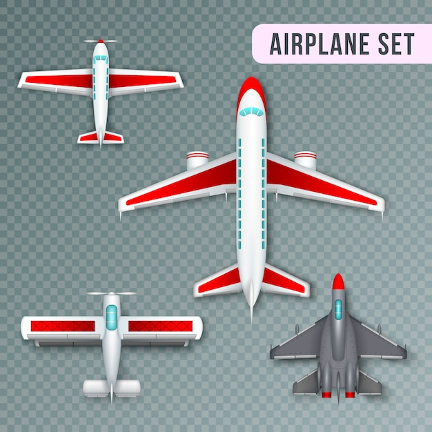 Airplane passenger propeller and jet planes and military aircraft realistic top view images collection transparent Free Vector