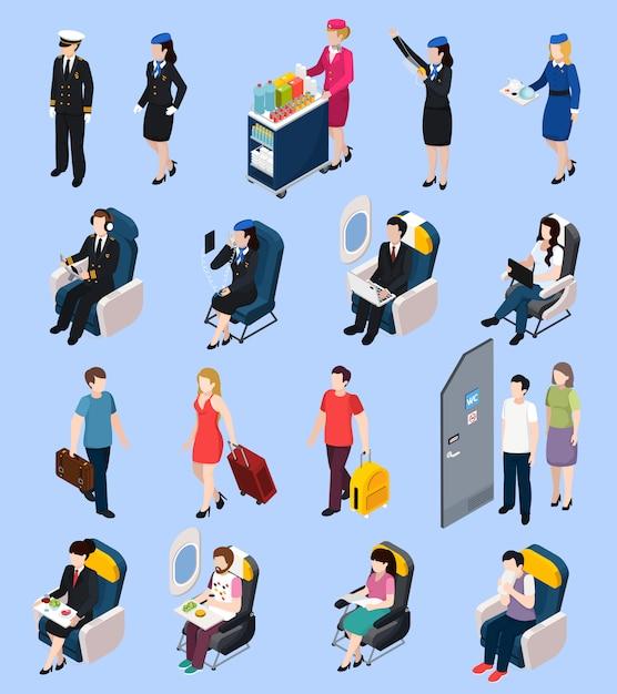 Set di passeggeri dell'aeroplano Vettore gratuito