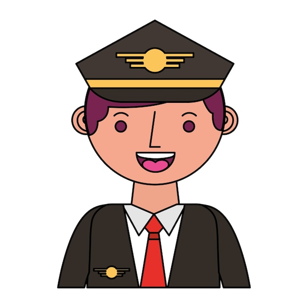 Airplane pilot avatar character vector illustration design Premium Vector