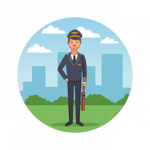 Airplane pilot body cartoon Premium Vector