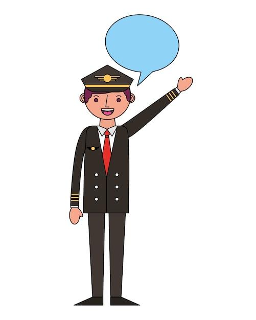 Airplane pilot with speech bubble vector illustration design Premium Vector
