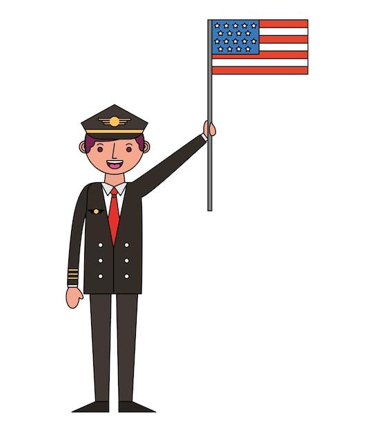 Airplane pilot with usa flag vector illustration design Premium Vector