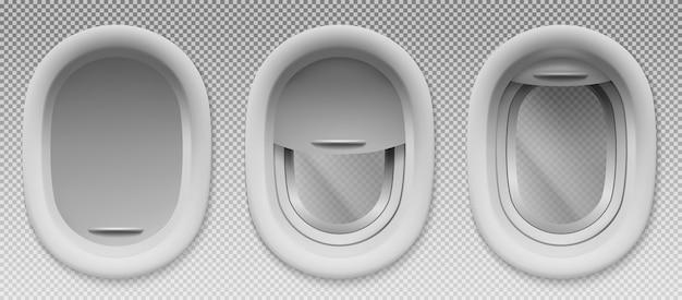 Самолетные иллюминаторы с открытым и закрытым плафоном Бесплатные векторы