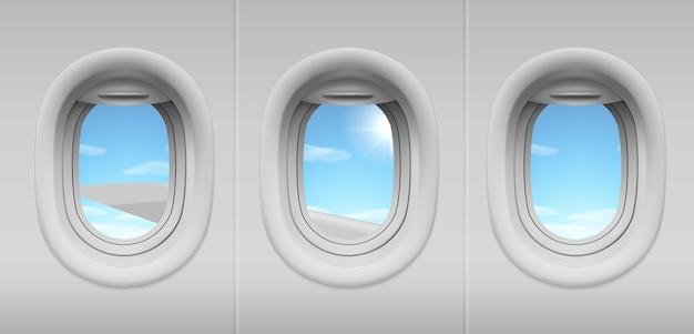 Иллюминаторы для самолетов с видом на небо и крыло Бесплатные векторы