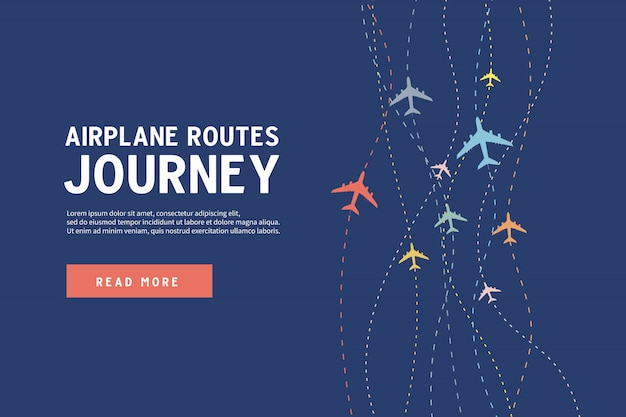 Airplane routes of journey banner template. Premium Vector