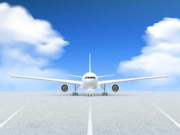 Airplane runway poster Free Vector