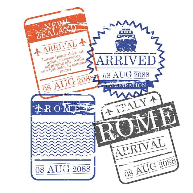 Airplane and ship arrival square stamps Premium Vector