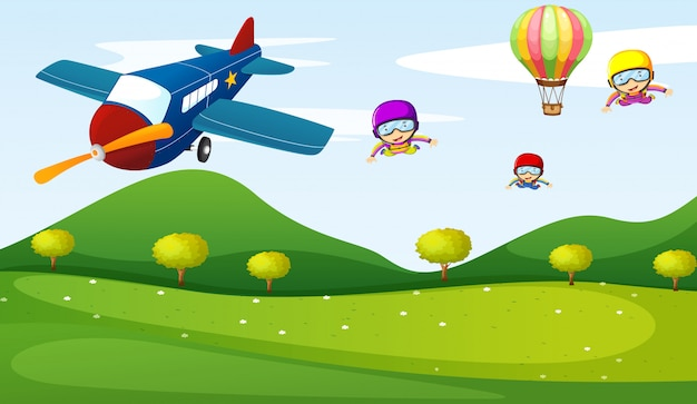 Airplane and sky activity Free Vector