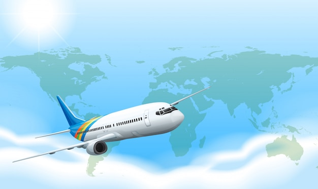 An airplane in the sky Free Vector
