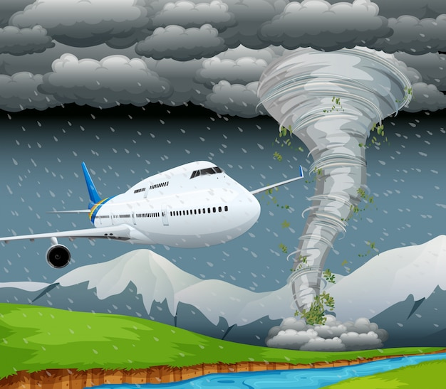 Airplane in storm scene Free Vector
