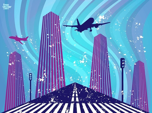 Airplane take off airport vector