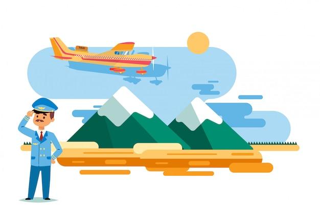 Такси самолета в полете над высокими горами, иллюстрации. человек персонаж в форме пилота стоять на земле, костюм и кепка Premium векторы