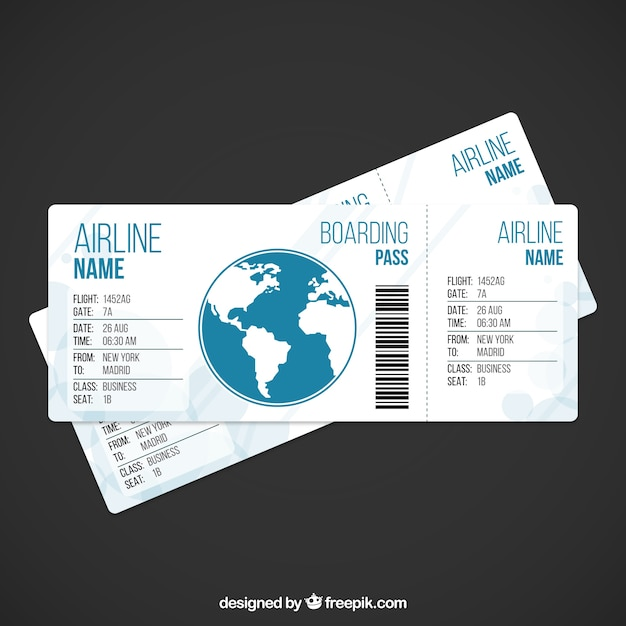 Airplane ticket template Free Vector