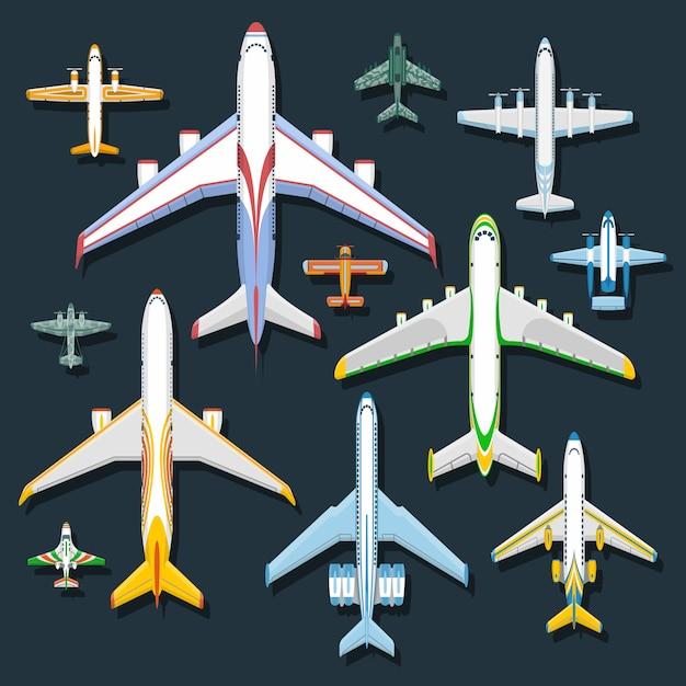 Airplane top view  illustration. Premium Vector